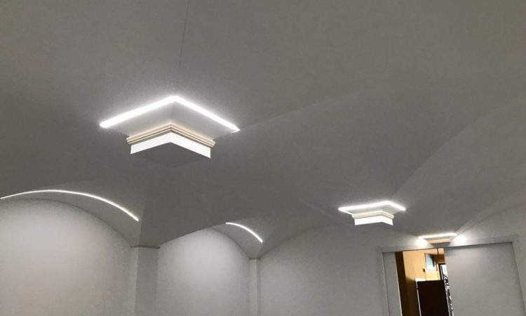 Groin vaults in plasterboard with LED lights – how to light up a vault with LEDs